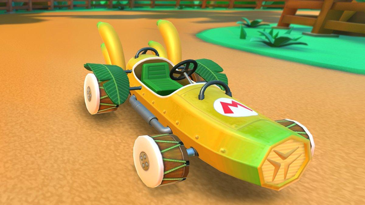 test ツイッターメディア - バナナのようなボディに、マフラーもバナナ。 バナナの葉まで余すことなく使用!バナナ好きにはたまらない新マシン! 「バナナマスター」が登場!  #マリオカートツアー https://t.co/25mGkCrozv