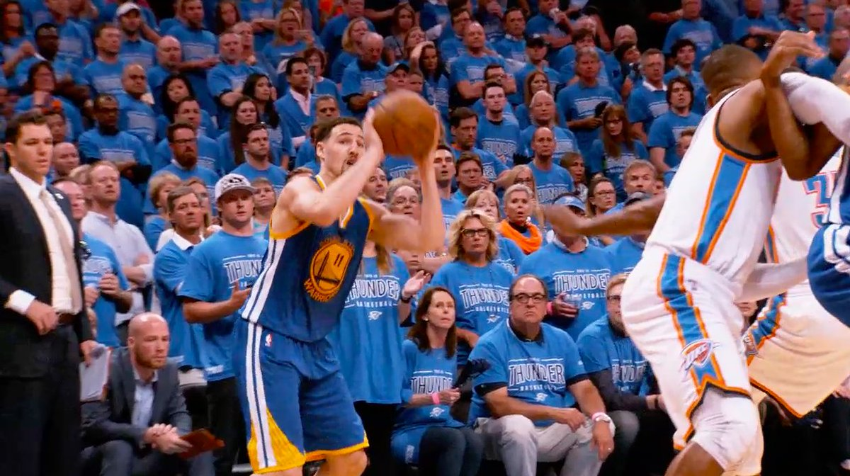 On this day in 2016, Klay Thompson caught fire in Game 6, drilling 11 three-pointers on his way to 4️⃣1️⃣ PTS points to lead the @warriors past the @okcthunder #DubNation   📲🖥: https://t.co/O1oWjySG2L https://t.co/RNcCgOlSl6