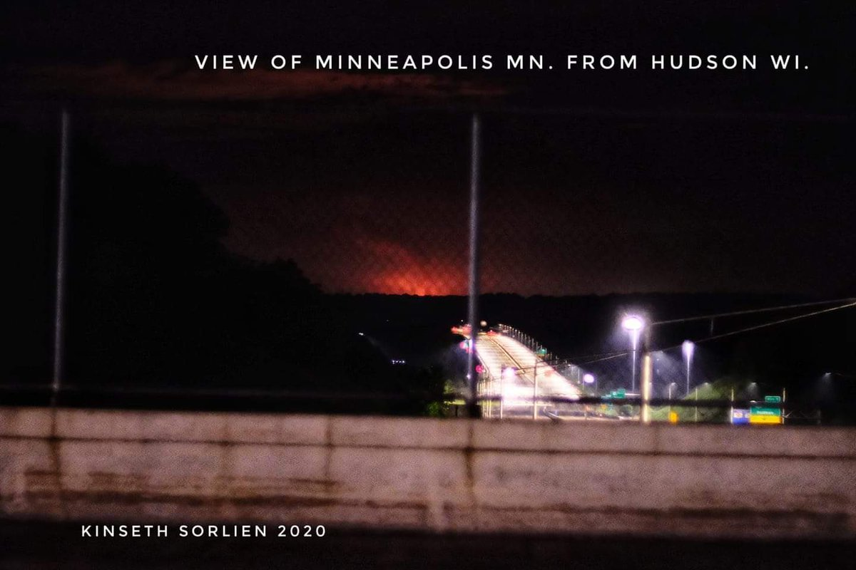 Friend just sent me this: The view of Minneapolis from across the bridge in Hudson, WI.  40 miles away.  Insane. <br>http://pic.twitter.com/TBoqV8yUx0