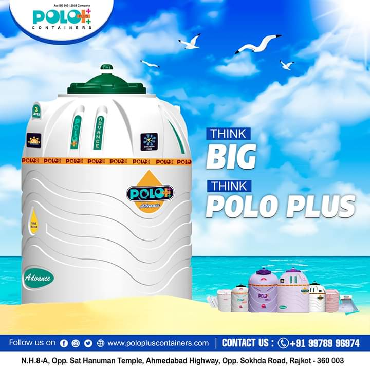 Think Big, Think Polo Plus !!  Polo Plus Containers & Pipes #Solvent #PVC #UPVC #CPVC #water #watertank #solarwaterheater #pipes #fittings #quality #products #rajkot #retailer #wholesaler #saurashtra #gujarat  For wholesaler and retailer contact today :  +91 99789 96974pic.twitter.com/q0c9vLbK7p