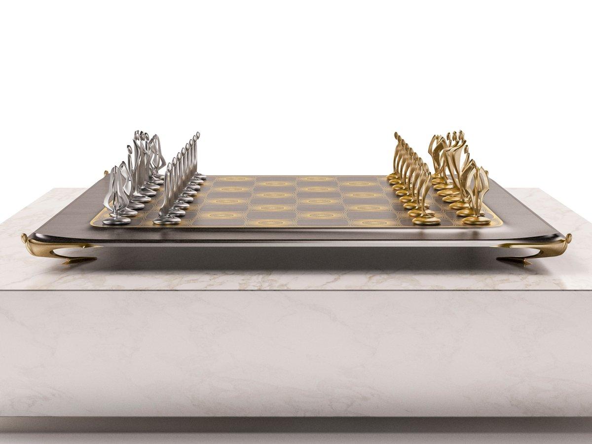 Pandov Chess Set with ChessBoard.  #chess #pandov #chessset #sculpture #aesthetic #chessbeauty #luxury #shapeways #art #instaart #beautifulchess #good #evil #blackandwhite #chessart  #chessdesign #amazingdesign #decorinspiration #decorative #minimaldesign #decorlover #decorhome
