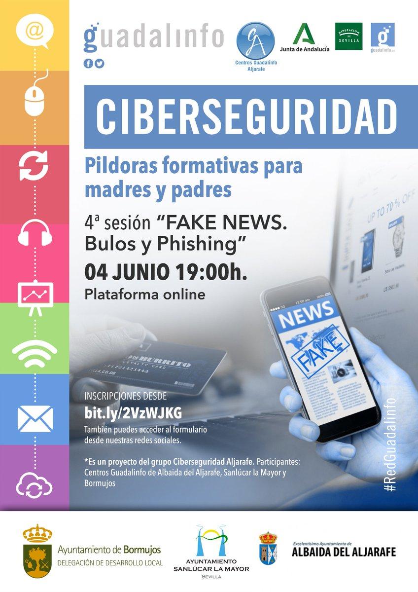 RT @GuadaBormujos: RT @capijereznorte: RT @guadasanlucarm: PÍLDORA FORMATIVA 4 sesión #CIBERSEGURIDAD para adultos #FakeNews #phishing #Bulos @GuadaBormujos  @guadasanlucarm  @CGAlbaida   4 Junio 19h Inscríbete http://bit.ly/2VzWJKG  #Guad…pic.twitter.com/qMEkNbyvM5