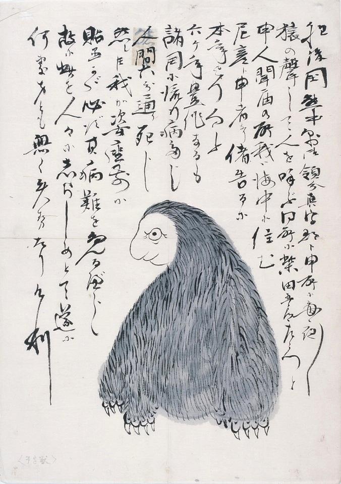 あつ森マイデザイン第2弾は「予言獣 尼彦」。その姿を貼って拝むと、難を免れるとされています。アマビコは、さまざまな姿で伝えられていますが、こちらの資料では猿のように描かれています。#あつ森で飾ろう #マイデザイン #どうぶつの森 #ACNH #AnimalCrossing #おうちで妖怪博物館