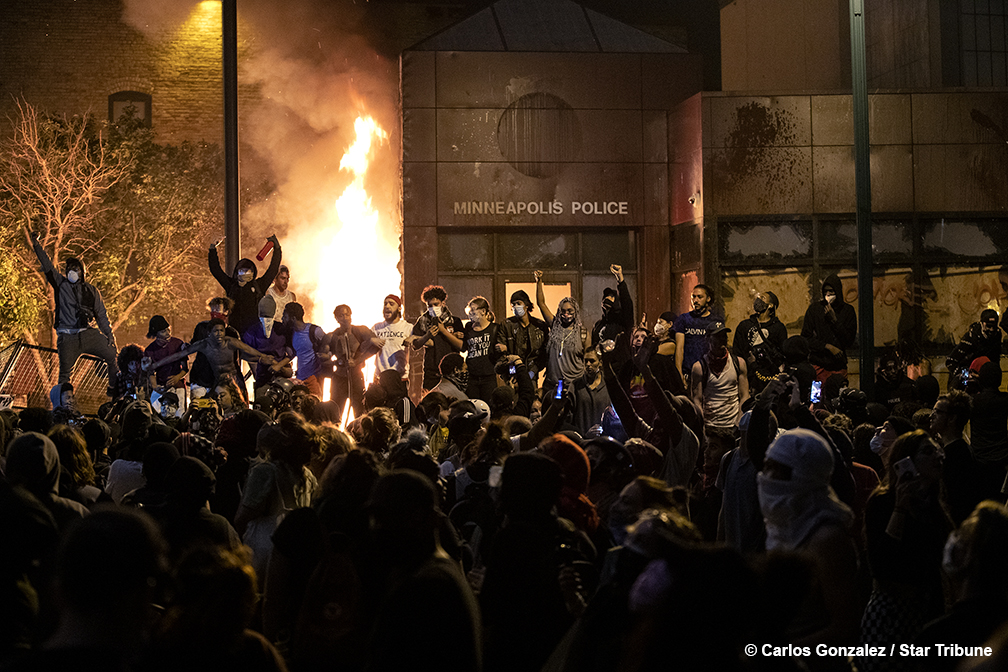 The Minneapolis 3rd Police Precinct was set on fire on Thursday night.