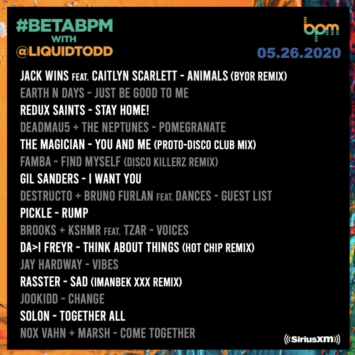 ON NOW: #betaBPM with an hour of brand-new music on @SIRIUSXM 51