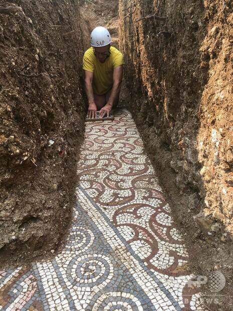 【発掘】古代ローマのモザイク画発見、保存状態は非常に良好 イタリア調査していた考古学者は「タイムマシンに入ったよう」だったと話した。3世紀頃に制作されたものだという。