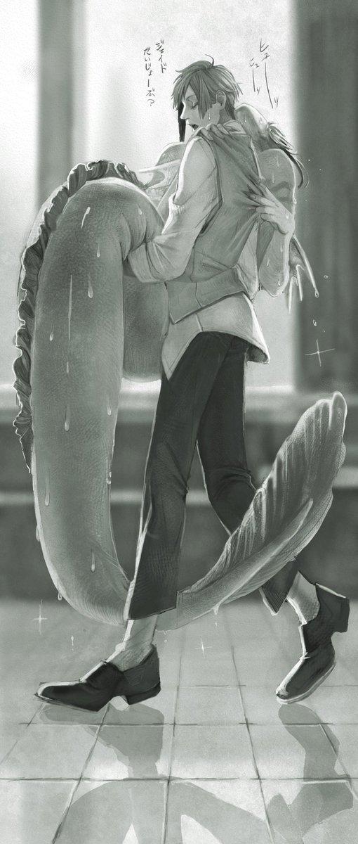 急に人魚に戻ってしまい呼吸が苦しいジェを運ぶフロ の図 です