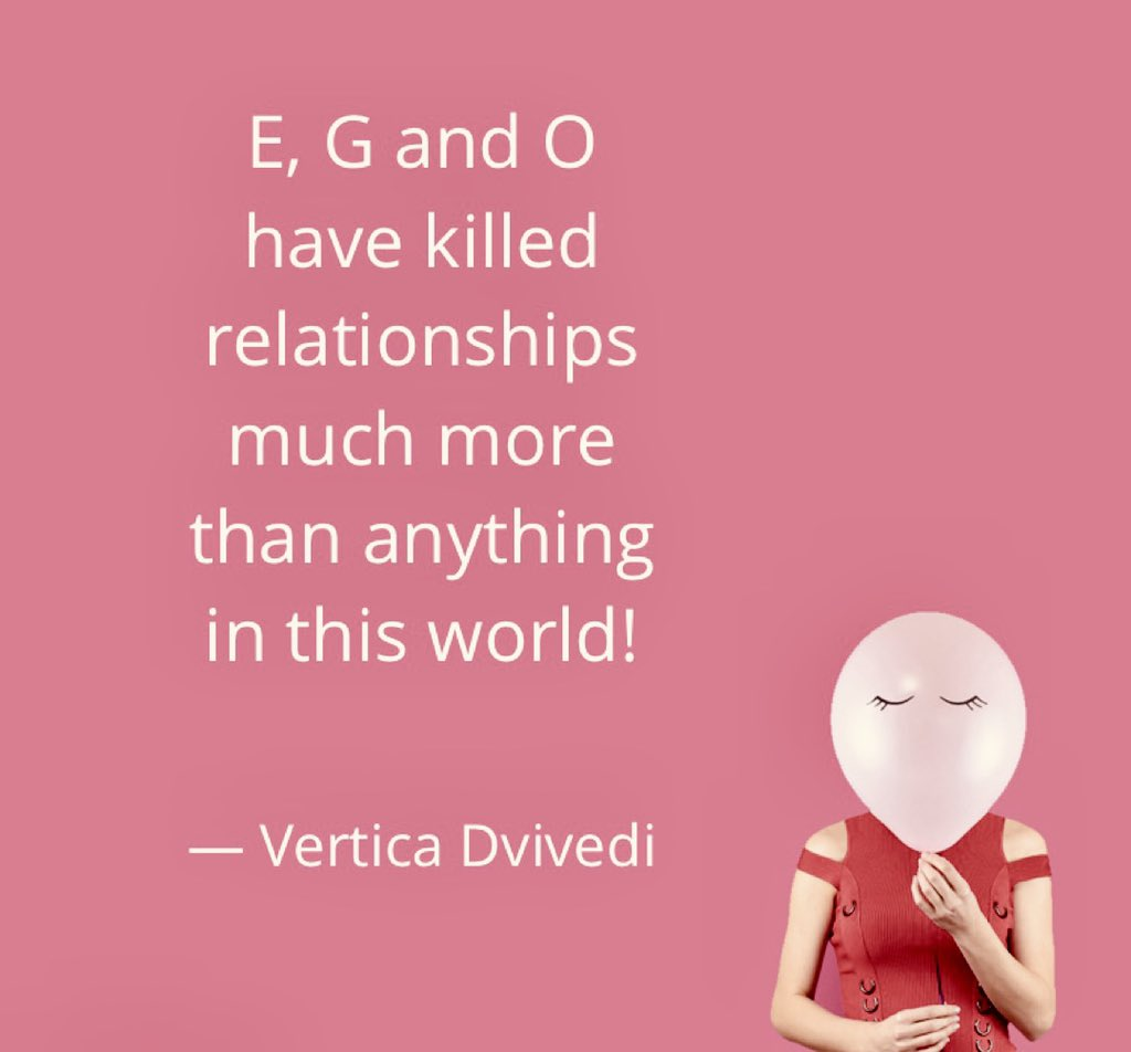 """""""E, G and O have killed relationships much more than anything in this world! Be careful of these 3 alphabets in the same order!"""" - Vertica Dvivedi  #quoteverticadvivedi #quoteoftheday #voiceofvertica #ego #relationship #life #quotesdaily #ThursdayThoughts #ThursdayMotivation pic.twitter.com/Lnno2qLZl2"""