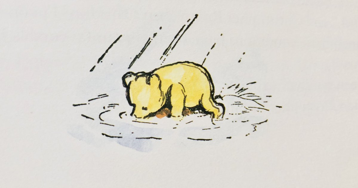 """""""Oh, Pooh!"""" cried Christopher Robin. """"Where ARE you?"""" """"Here I am,"""" said a growly voice behind him. """"Pooh!"""" They rushed into each other's arms. """"How did you get here, Pooh?"""" asked Christopher Robin, when he was ready to talk again. """"On my boat,"""" said Pooh proudly. ~A.A.Milne #love pic.twitter.com/nlVMpV5g3s"""