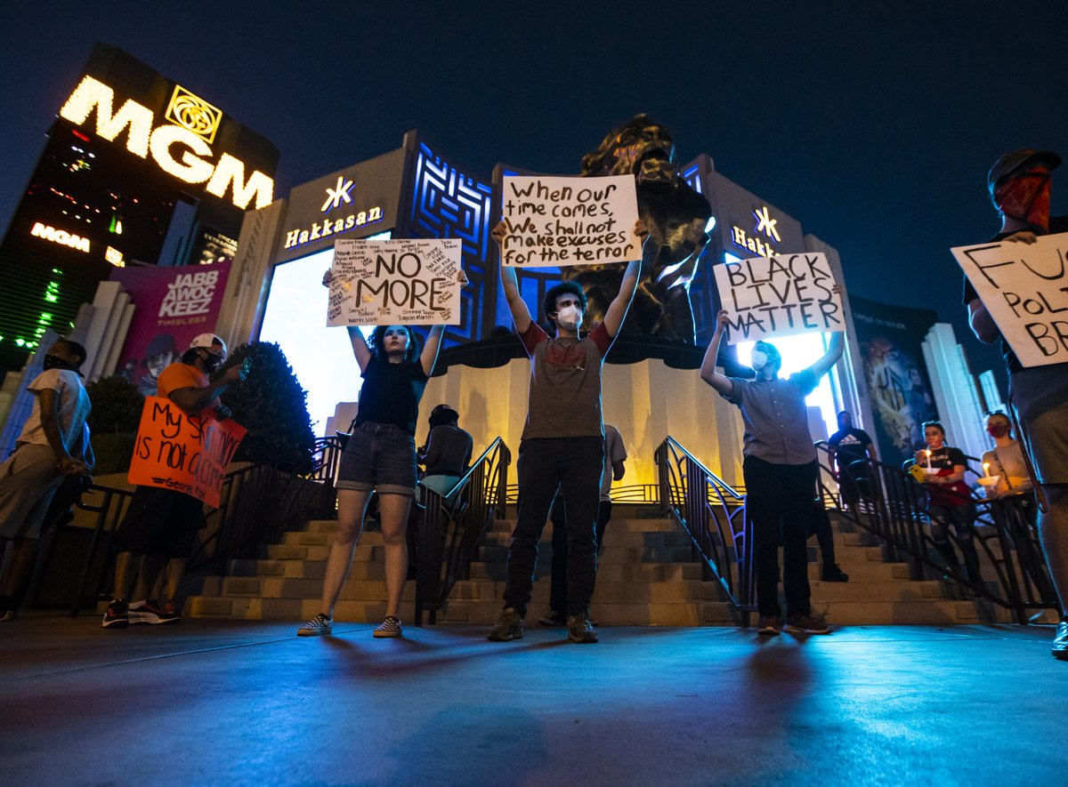 Images from the Las Vegas Strip as demonstrators gather to demand justice for George Floyd