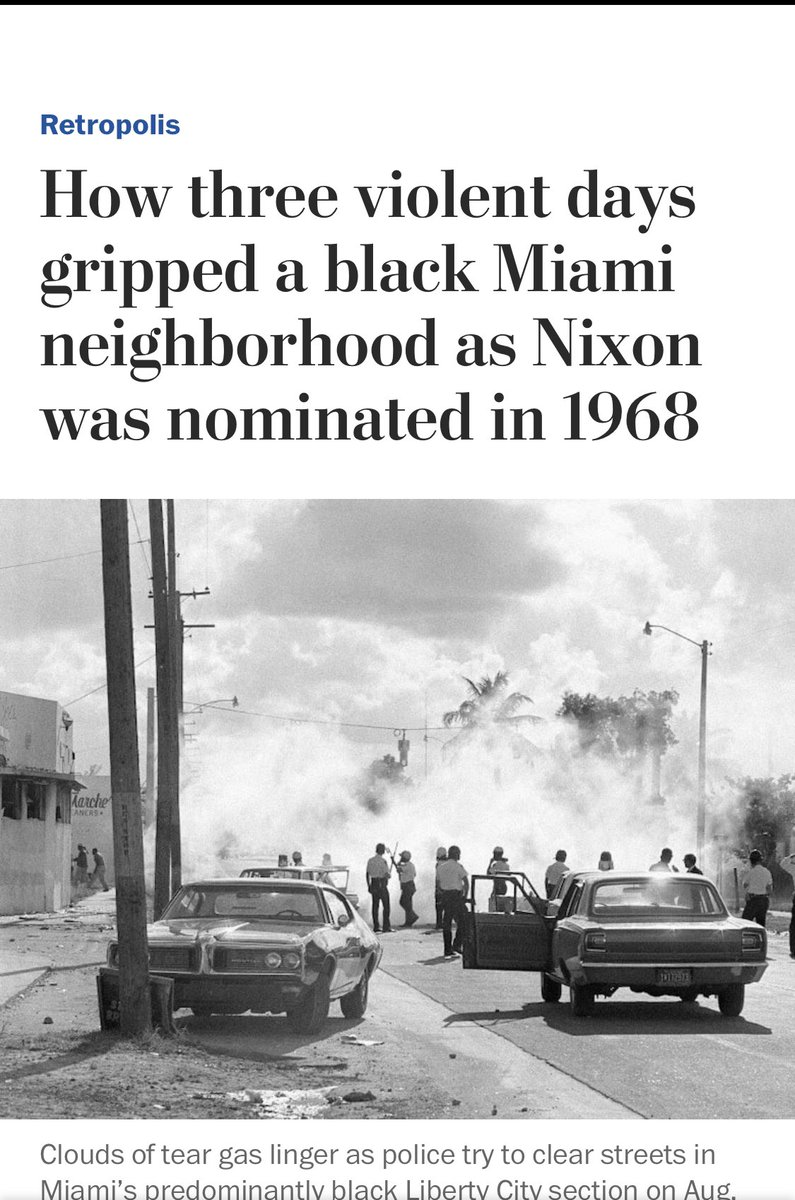 """""""When the looting starts, the shooting starts,"""" is a threat coined by Miami Police Chief Walter Headley, who promised violent reprisals on black protesters in 1967. He also said: """"We don't mind being accused of police brutality. They haven't seen anything yet."""" twitter.com/realdonaldtrum…"""