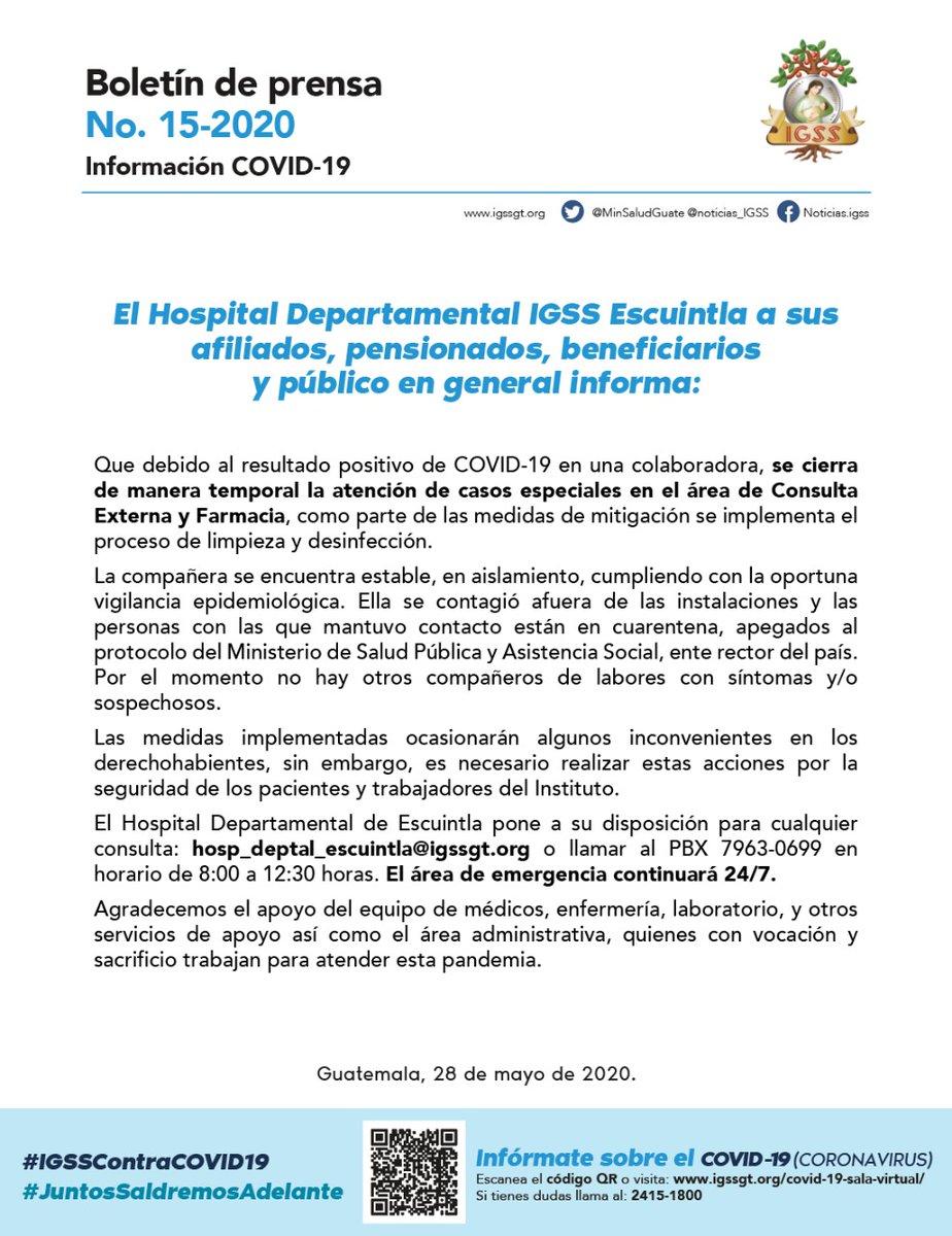test Twitter Media - El IGSS informó de las acciones tomadas luego de detectarse un caso de COVID-19 en una colaboradora en el Hospital Departamental de Escuintla. 👇🏼 https://t.co/Sy7A5veY5i