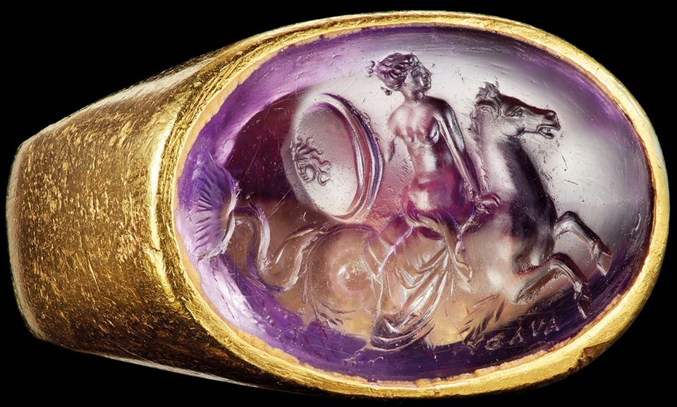 A Roman Ametrine Ringstone With Thetis Riding A Hippocamp