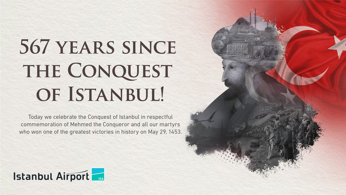 Today we celebrate the 567th anniversary of the Conquest of Istanbul in respectful commemoration of Mehmed the Conqueror and our glorious martyrs who have bequeathed to us Istanbul – a city beyond comparison. https://t.co/ozqpgfVtID