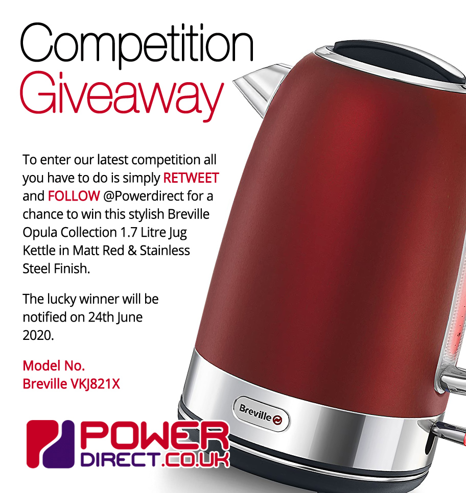 #Free to Enter @PowerDirectUK #Competition #Giveaway... Simply #RT and #Follow for a chance to #Win a Breville Opula 1.7 Litre Jug Kettle. #FreebieFriday #FridayFeeling #FridayMotivation