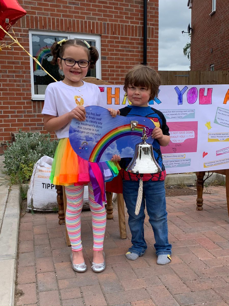7 year-old Mia from #Kidderminster who battled cancer for two years, has got to ring the end of treatment bell from home. She wasnt able to celebrate at hospital because of the #Coronavirus outbreak, so her family got a bell delivered instead. (Pic Credit - @WorcsAcuteNHS)