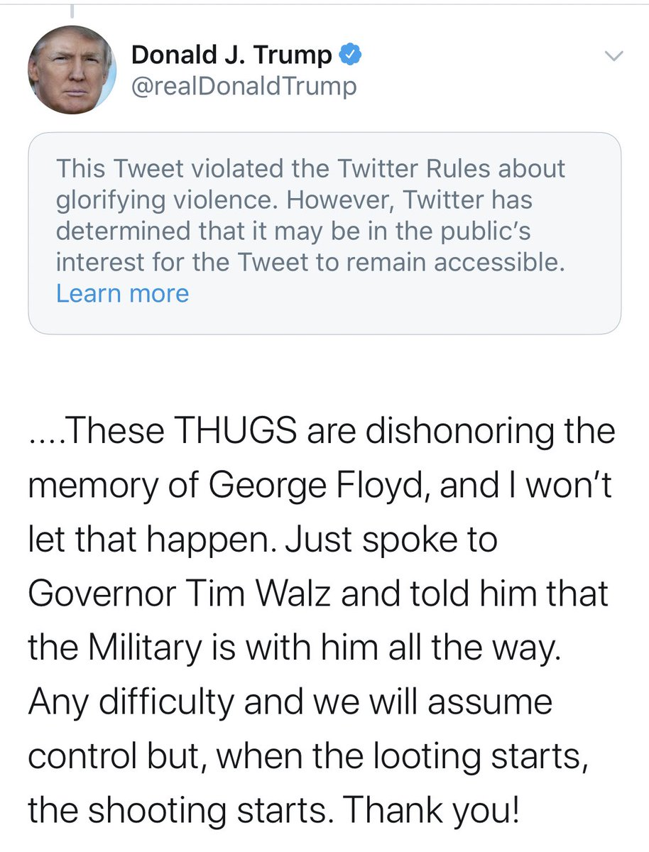 Twitter has added this disclaimer to Trump's tweet saying that it glorifies violence