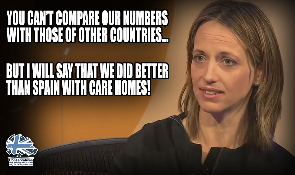 Helen Whately on #BBCQT claimed that care homes in England & Wales were a success, because the army werent brought in to help, like in Spain. Over 16,000 care home residents have died. Whately is the Minister for Social Care - it is her responsibility! #BorisJohnsonMustGo