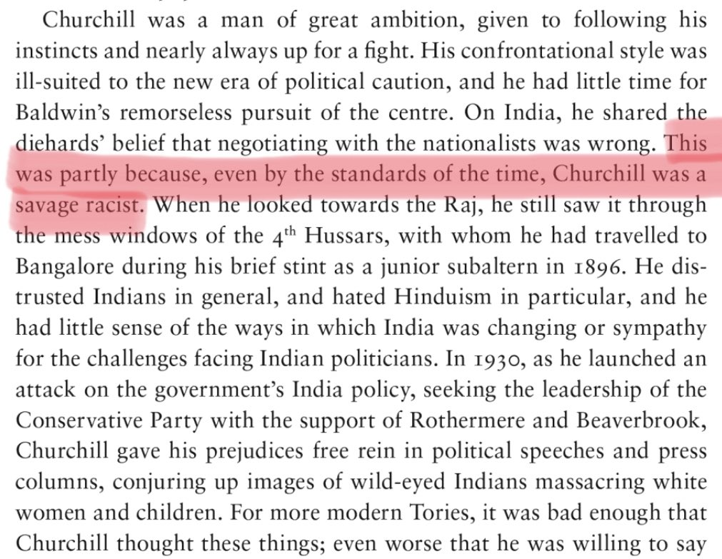 @nktgill @JayHulmePoet I can never stop thinking of this quote from Daniel Todmans Britains War 1937 - 1941 Into Battle: ...even by the standards of the time, Churchill was a savage racist.