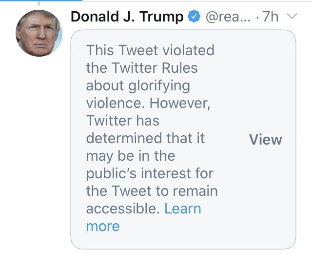 @realDonaldTrump I won't quote what @realDonaldTrump tweeted because it glorifies violence. But good on Twitter for taking a stand against violence. #GoJoe https://t.co/Ulw2WzWYy9