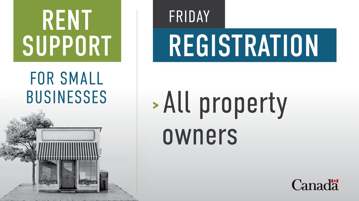 All property owners eligible for the Canada Emergency Commercial Rent Assistance for small businesses can apply today! More info on how to apply and eligibility: http://ow.ly/xlc450zTus0pic.twitter.com/JOtLQ4G3NC