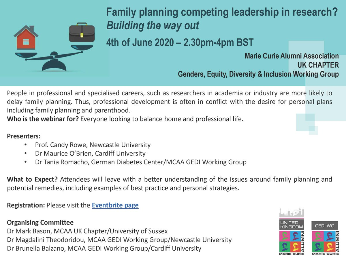 4th June 2.30pm webinar on balancing research and family planning.  Presenters:  Prof. Candy Rowe, Newcastle University  Dr Maurice O'Brien, Cardiff University  Dr Tania Romacho, German Diabetes Center/MCAA GEDI Working Group