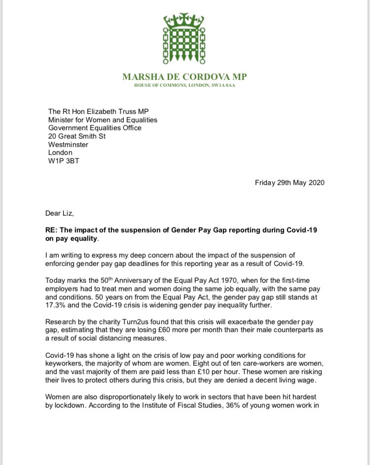 On the 50th Anniversary of the #EqualPayAct I have written to the Minister for Women and Equalities to raise my deep concern about the suspension of gender pay gap reporting during #Covid19. We cannot let women be left behind as a result of this crisis.