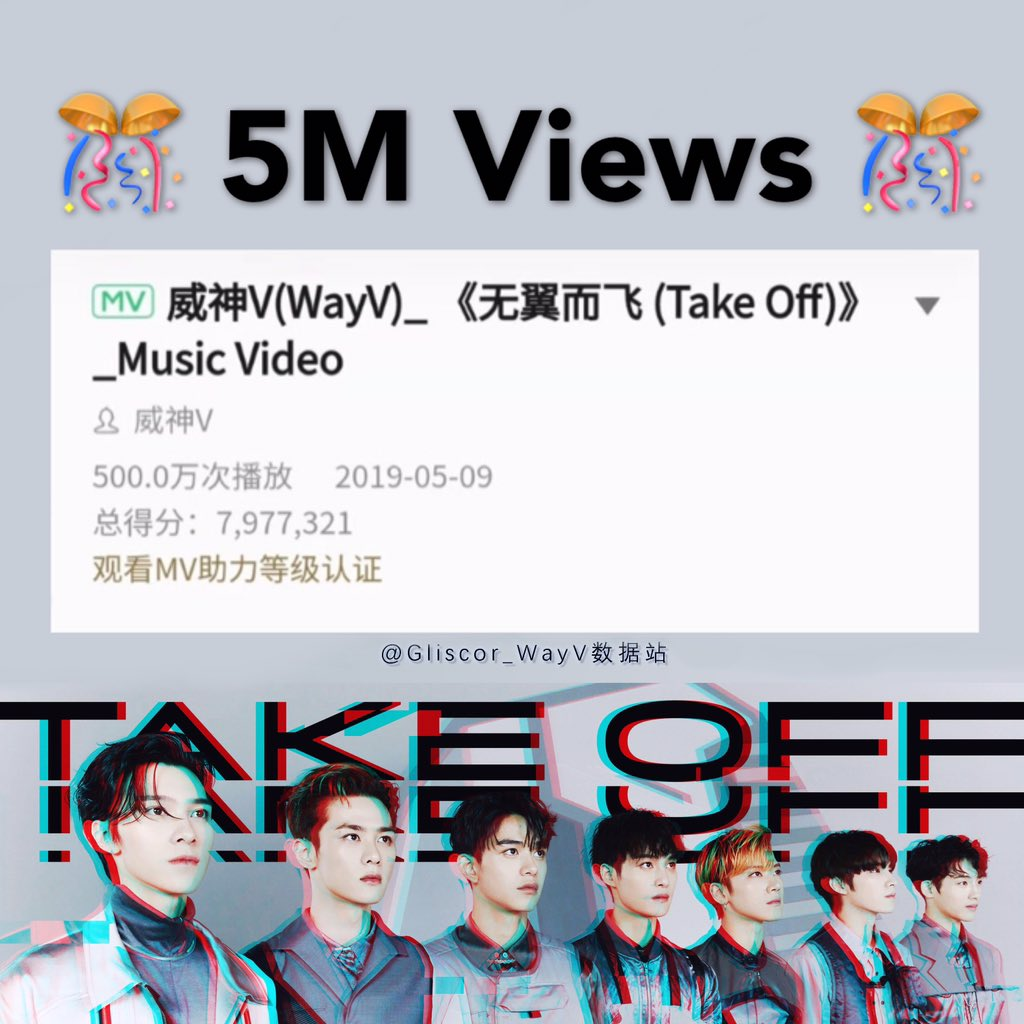 "Congratulations!!! The number of ""Take off"" MV's views has exceeded 5M. Let's work together to achieve  10M certification as soon as possible.  #WayV  #wayv  #威神V #WeiShenV <br>http://pic.twitter.com/QvpYCHRc50"