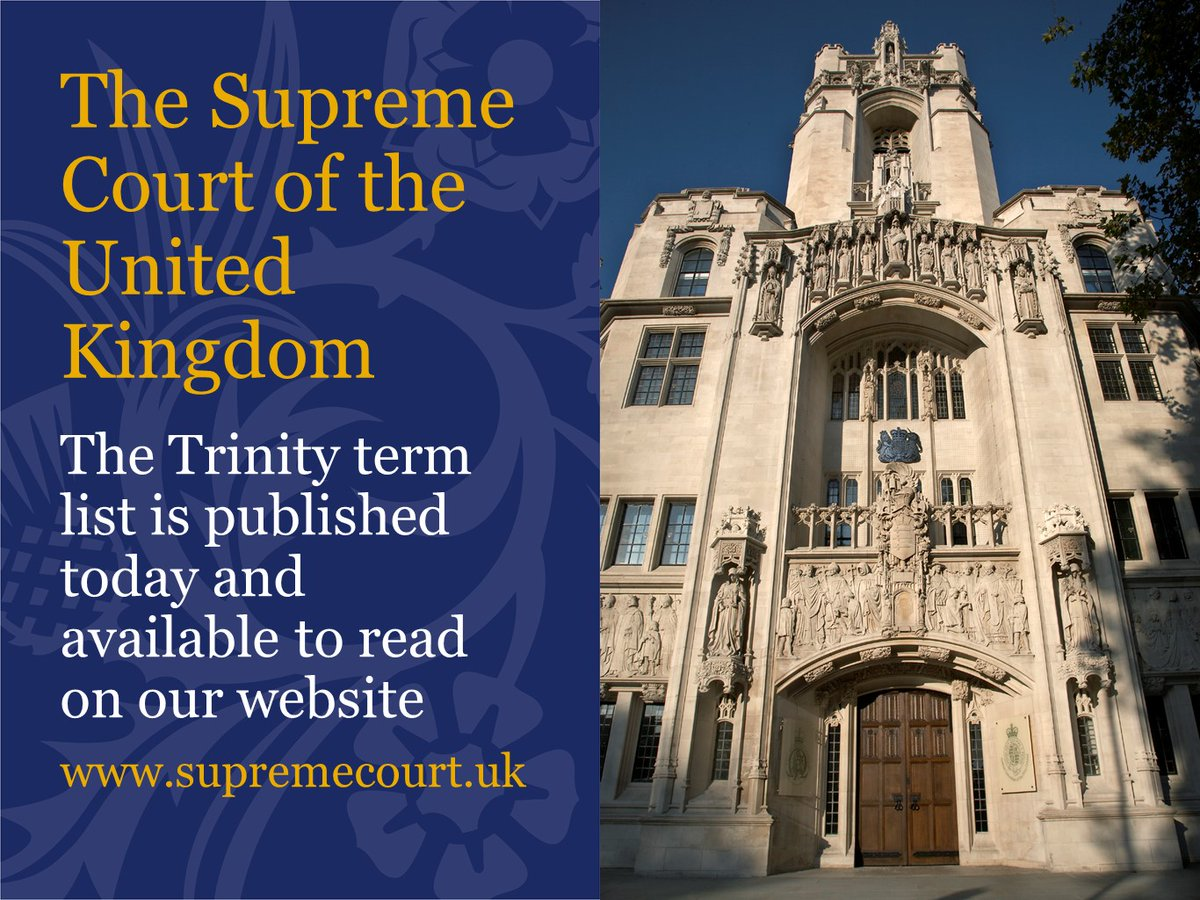 The Trinity term will run from 2 June – 31 July 2020. You can see the term listings on our website here: supremecourt.uk/visiting/court…