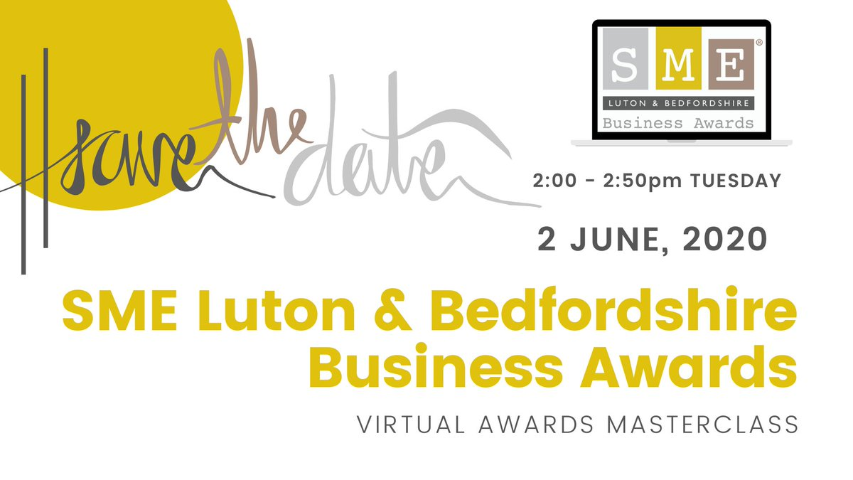 You are cordially invited to the SME Luton & Bedfordshire Business Awards Masterclass!  SAVE THE DATE: Tuesday 2 June 2020 at 14.00 via Zoom Webinar.  You can register your interest here: https://t.co/NokYBoBghl @OProductions13 @StanairServices @MyMustard #SMELutonBeds #Awards https://t.co/Pd5iqyRukH