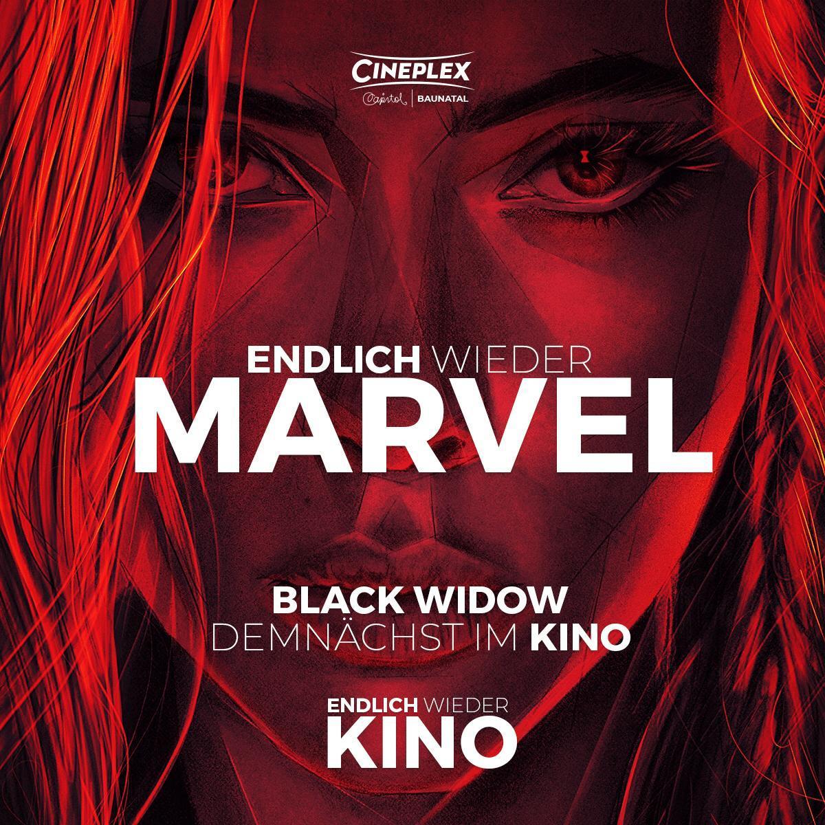 """Endlich wieder Kino Endlich wieder... MARVEL  Freut euch am 28.10. auf """"Black Widow""""   Wir sind ab dem 04.06. wieder für euch im Cineplex Baunatal da pic.twitter.com/zXxClXBS9x"""