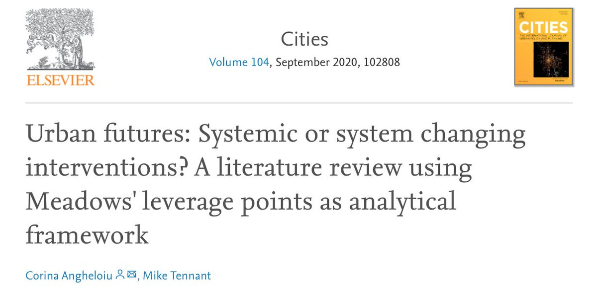 🚨🚨 New research alert 🚨🚨   This has been a long time in the making, but in this review I'm analysing interventions advocated in the literature on #UrbanSustainability #UrbanResilience #UrbanTransitions #UrbanTransformation   https://t.co/8yWMwD2frS - open access for 50days https://t.co/R8nwnQPJIA