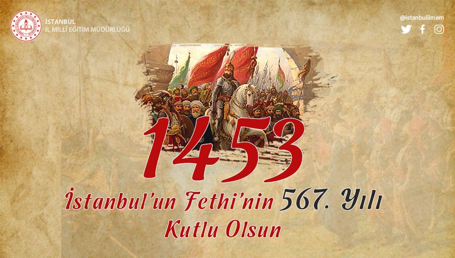 Tarihin en muhteşem zaferlerinden biri olan İstanbul'un Fethi'nin 567. Yıl dönümü vesilesiyle, bu kadim şehri bizlere miras bırakan Fatih Sultan Mehmet Han ile şehitlerimizi ve Fethi ilmek ilmek ören ecdadımızı rahmetle, hürmet ve minnetle yâd ediyorum. https://t.co/kJ06ydPGFy