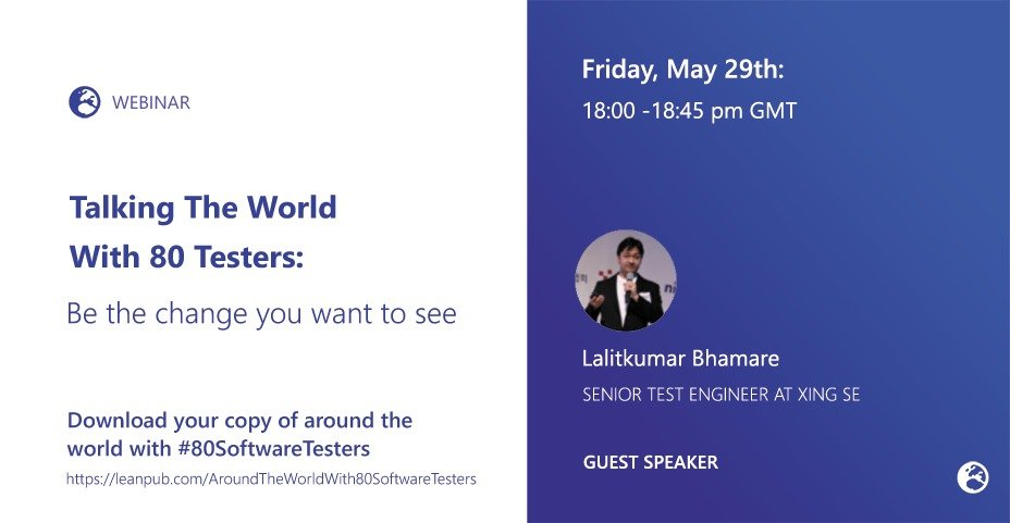 """📢🌐Today, @11vlr and myself will be speaking with  @Lalitbhamare about his 'Around the world with #80SoftwareTesters' book contribution -  """"Be the change you want to see"""".  📽 The session isn't going to be live streamed this time but the video will be shared soon after https://t.co/zNqmuZz0Uj"""