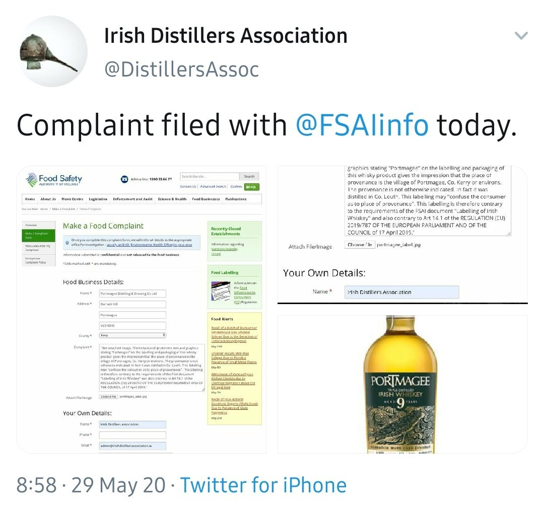 Ha ha they are at it again!  Irish #Whiskey has to be made with Irish water, Irish grains distilled in a still made in Ireland from Irish copper & matured in irish casks made of Irish wood. All in traditional Irish industrial estates owned by Irish people (7th generation minimum) pic.twitter.com/qhXSqHyfny