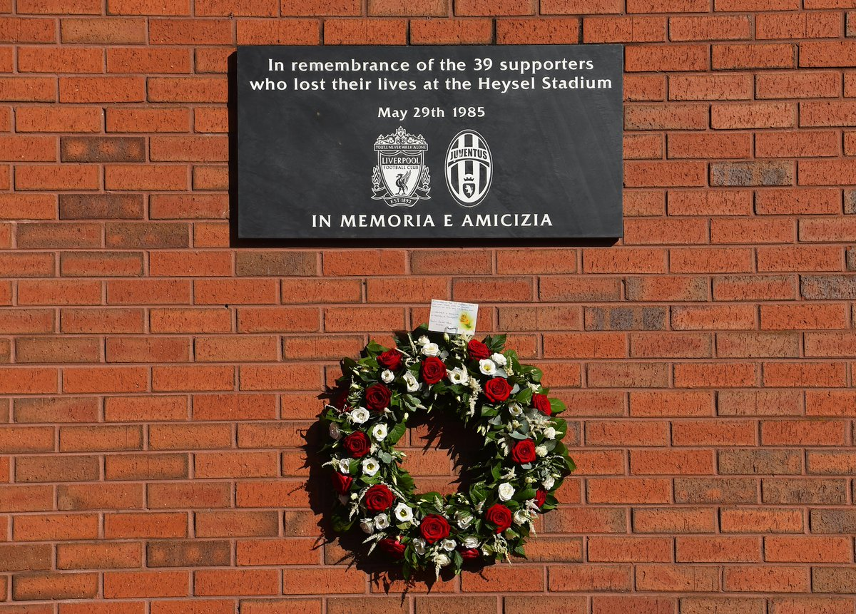 We remember the 39 football fans who lost their lives at Heysel Stadium in Belgium on this day 35 years ago. Youll Never Walk Alone.