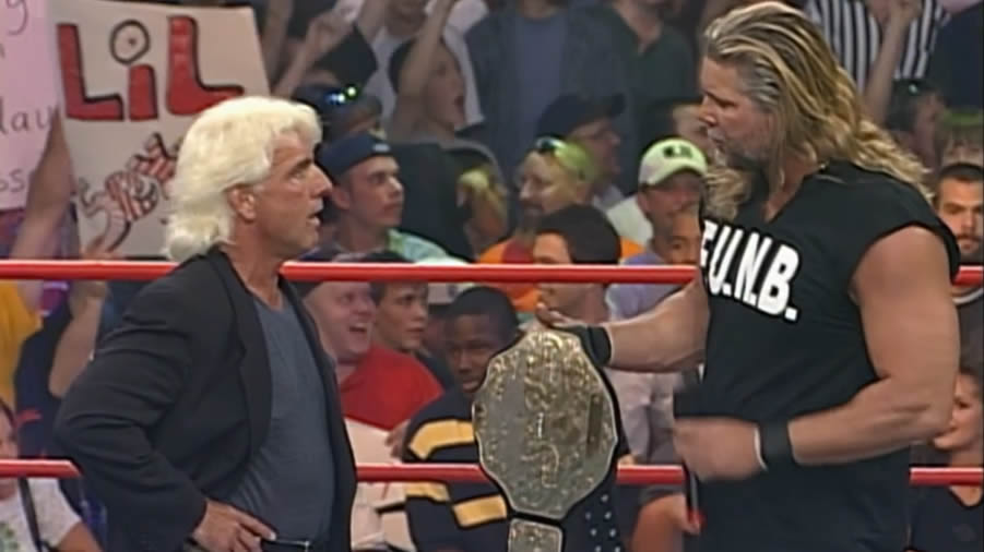 #OnThisDay in 2000, @RealKevinNash handed Ric Flair (@RicFlairNatrBoy) the #WCW World Heavyweight Championship during the opening segment of #Nitro. For Ric, this would be the last of his 16 recognised World title reigns. #RicFlair #natureboy #wwe #kevinnash #nash