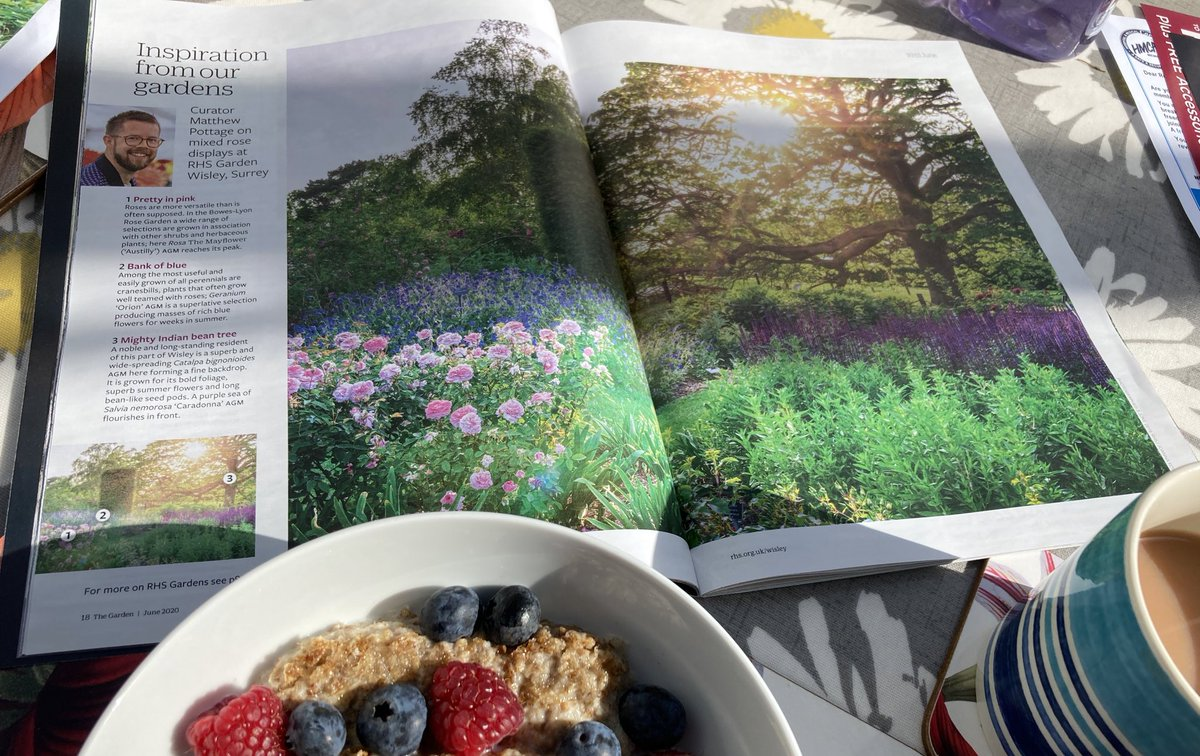 Breakfast with @Matthew_Pottage ( looking forward to being back @RHSWisley ) and @AmielWayne ( Fab garden, Wayne ) Have a wonderful day 🌸🌿🌼 📷 @The_RHS The Garden ( and my breakfast 😁 ) https://t.co/3nwNekenLI