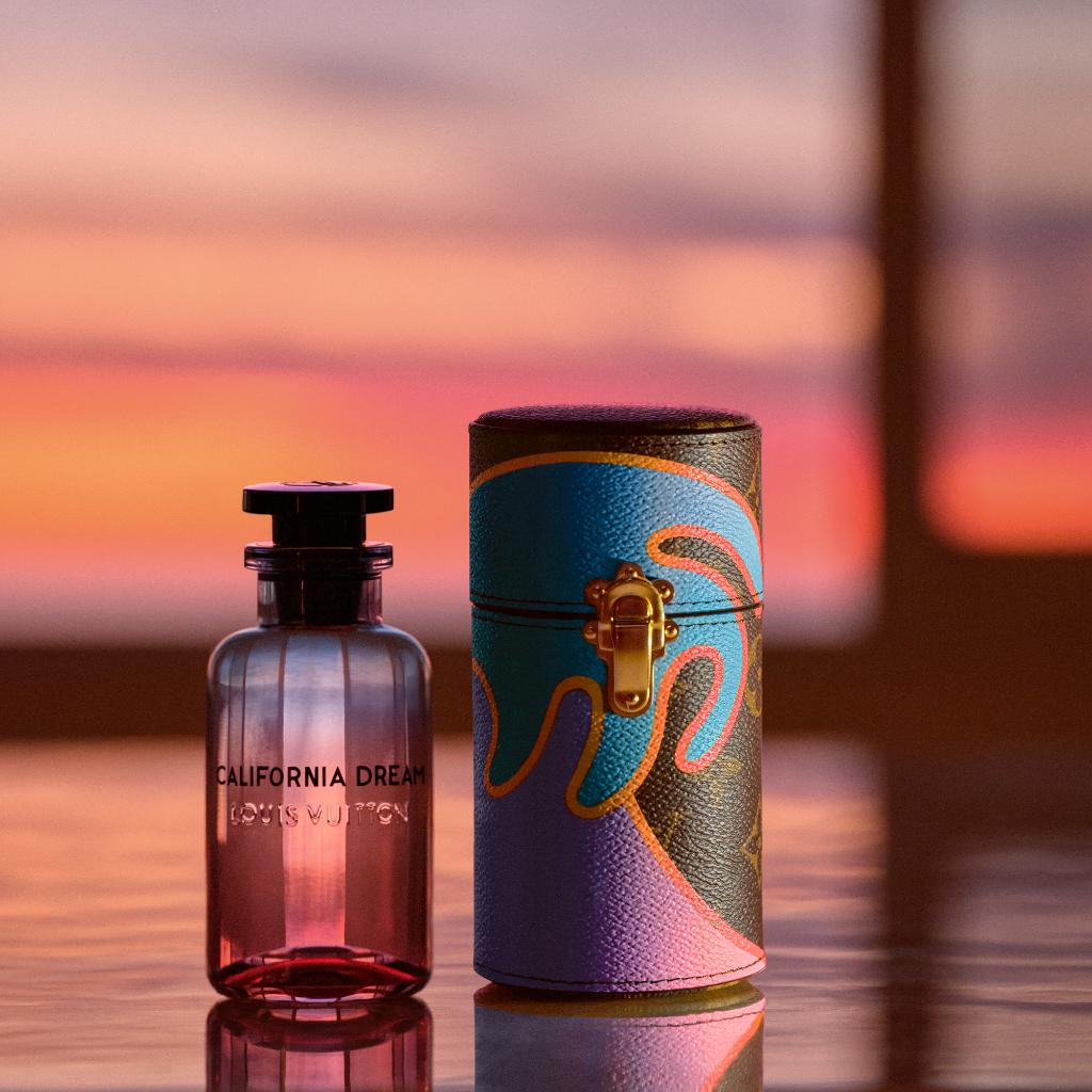 The resonance of a sunset. #LouisVuitton once again collaborated with artist #AlexIsrael on the newest scent to join the Cologne Perfume Collection. Discover California Dream at on.louisvuitton.com/6015GE1OJ