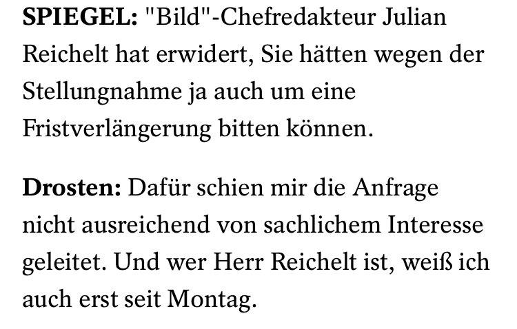 """""""Und wer Herr Reichelt ist, weiß ich auch erst seit Montag."""""""