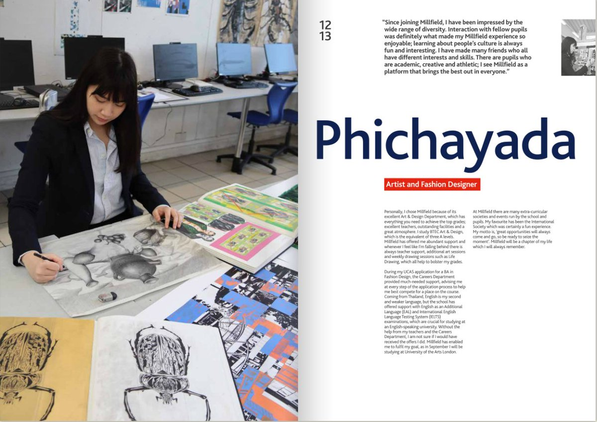 "🖌️""Personally, I chose Millfield because of it's excellent Art and Design Department, which has everything you need to achieve top grades.""  👗Meet Phichayada, who, after studying BTEC Art and Design at Millfield, is now studying at @UAL!  #Arts #BTEC #ArtandDesign"
