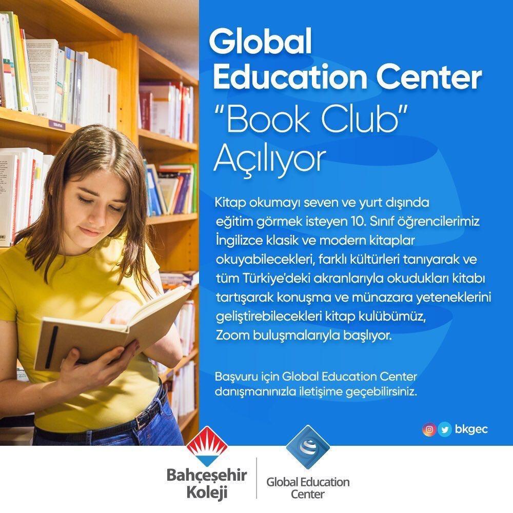"""Global Education Center """"Book Club Açılıyor!""""  Bahçeşehir Koleji öğrencileri her Çarşamba saat 15.00'da bir araya gelerek okudukları kitapları tartışabileceği """"Book Club"""" buluşmalarına başlıyor. 🤗📚  İlk kitap: 1984, George Orwell https://t.co/Xyh8Rki4TC"""