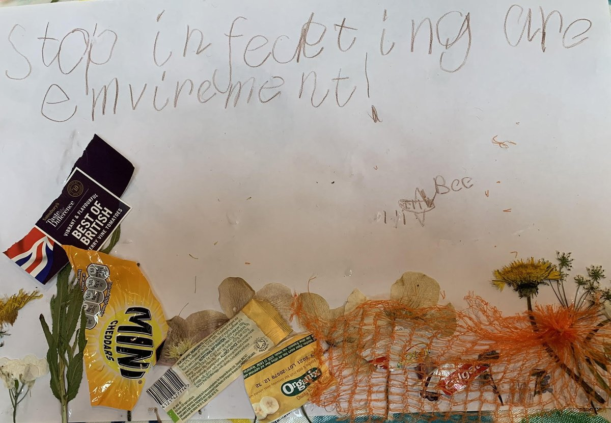 """Stop infecting our environment"": a strong message from this UK 5 year-old who depicts trees, flowers and a hedgehog trapped in rubbish. All inspired by the film Chiripajas and its theme of #sustainabledevelopment https://t.co/ZcnbLg3Ae4 @dialls2020 @DIALLS_cy @DiallsLT @diallspt"