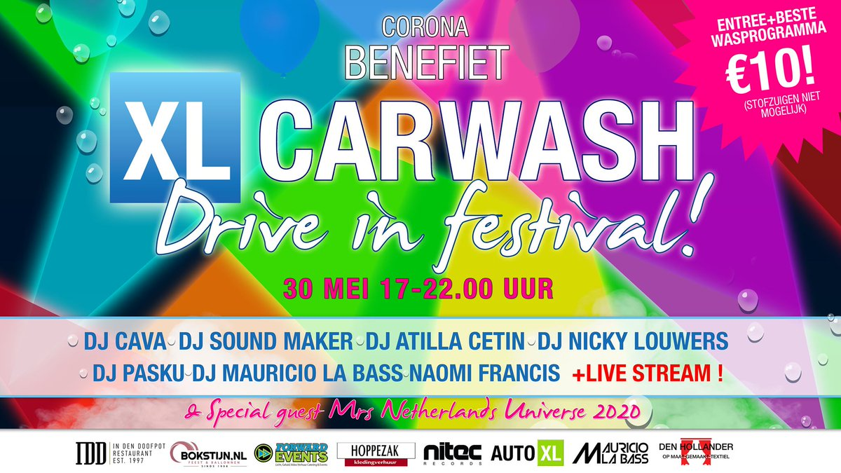 Heeft je auto een sopje nodig? Kom dan morgen vanaf 17u naar het benefietfestival van XL Carwash in Leiden. De volledige opbrengst gaat naar het corona-onderzoek van @LUMC_Leiden!  🏎️https://t.co/xnaVL5MDkP https://t.co/zAm1E1YOG9