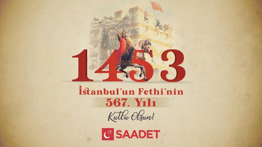 İstanbul'un Fethi'nin 567. yıl dönümü kutlu olsun!  Bir çağı kapatıp, yeni bir çağ açan başta Fatih Sultan Mehmet Han olmak üzere, bize 'fetih ruhu'nu miras bırakan ecdâdımızı, şehit ve gazilerimizi rahmet, minnet ve saygıyla yâd ediyoruz.  #29Mayıs1453 https://t.co/yMgbBZTItF