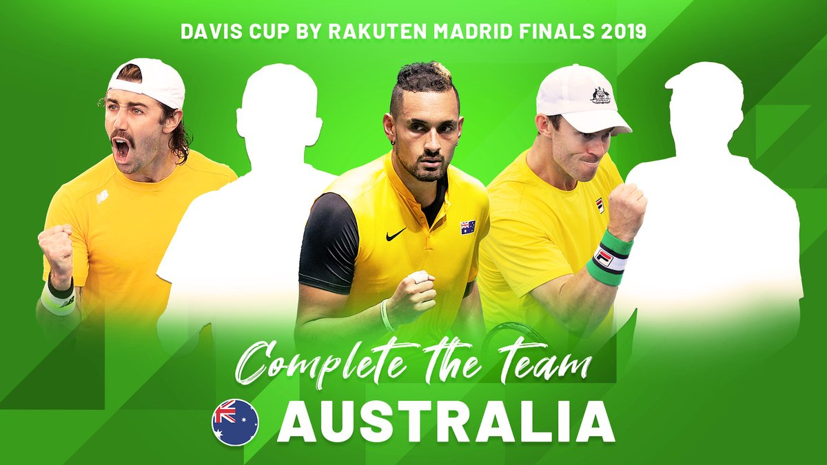 Who's missing? 🧐  Complete the Davis Cup by Rakuten Madrid Finals 2019 Australian team 🇦🇺  @TennisAustralia  | #DavisCupFinals #byRakuten https://t.co/QFuaAEkfcS
