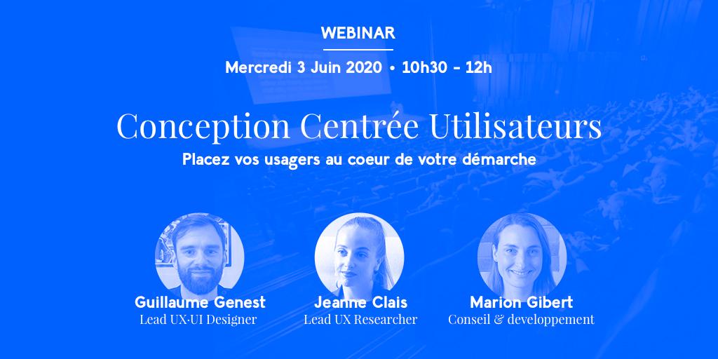 💻 Webinar · Déconfinés-mais-pas-trop, nous vous donnons RDV mercredi 3 juin prochain à partir de 10h ! Nous parlerons des étapes qui jalonnent notre démarche de conception centrée utilisateur et de comment nous les concrétisons ! #CCU  👉 S'inscrire https://t.co/mPW8tK1nOi https://t.co/jUloNa2uaI