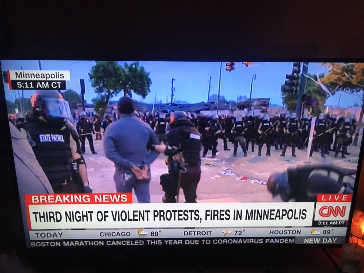 CNN reporter @OmarJimenez just got arrested by Minnesota state police live on @NewDay with no explanation. This is the most extraordinary moment of TV news I've ever seen. The camera man and producer are now being arrested.