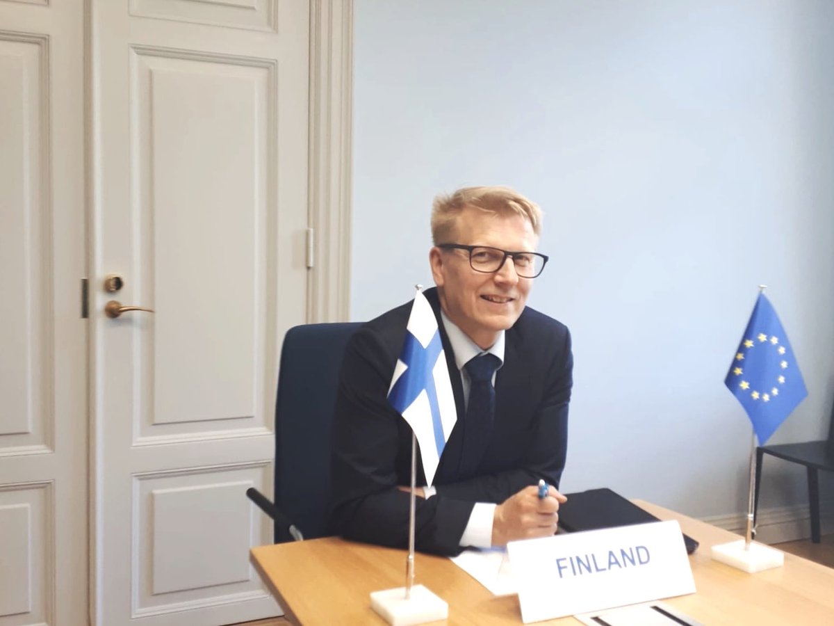 """""""Research and innovation play an important role in the EU's recovery from #COVID19. The Member States and @EU_Commission responded immediately by allocating R&I funding to important sectors such as vaccine development"""", says State Secretary @Tiilikainen at #COMPET 🎥 meeting."""