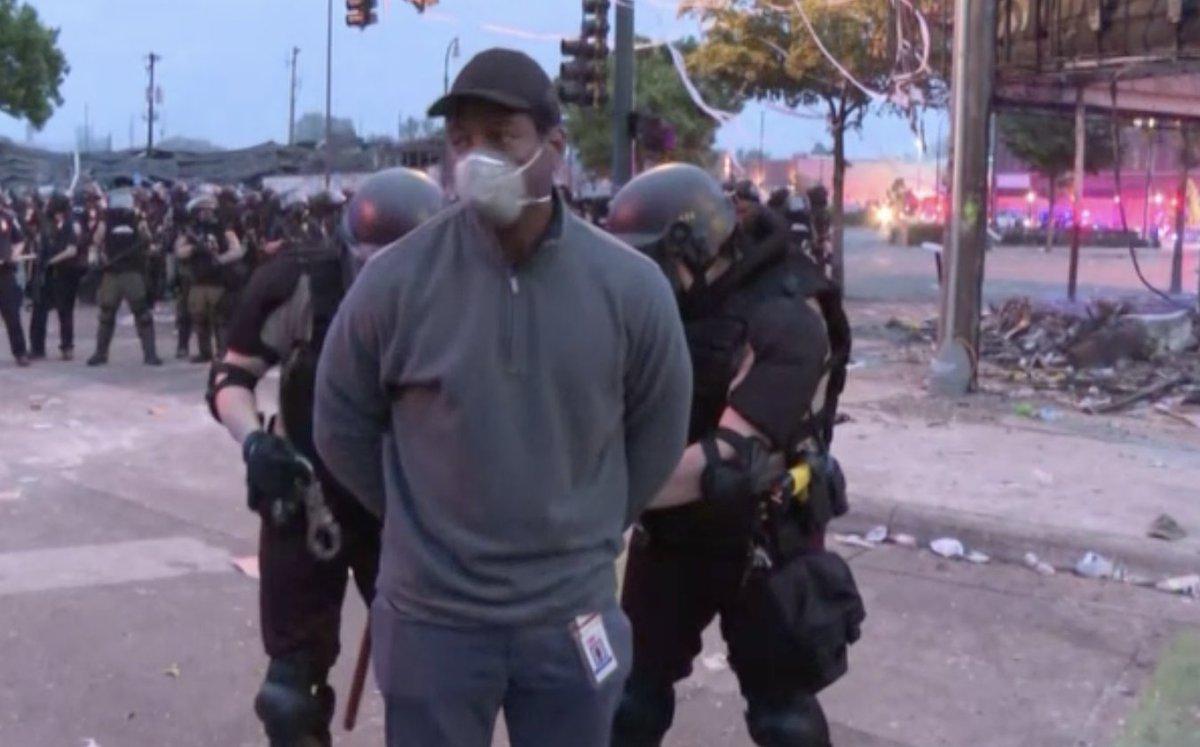 Minnesota state police arresting @CNN journalist @OmarJimenez and his entire crew.